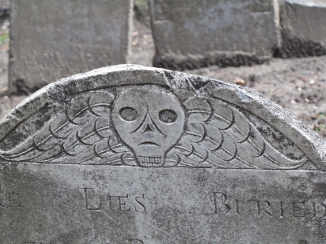 Winged skull headstone in Granary Burial Ground
