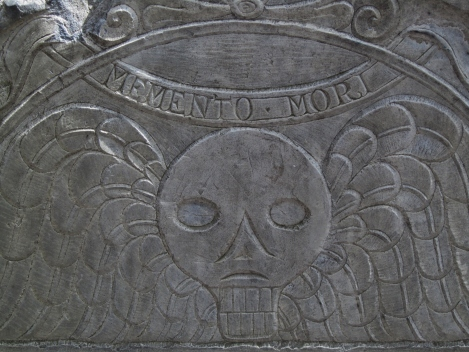 Skull with wings on gravestone, Boston USA