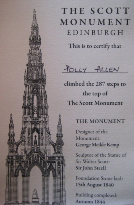 Scott Monument Certificate