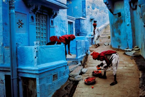 Rajasthan blue buildings and locals