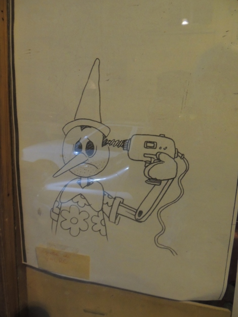 Pinocchio with drill drawing in Monti, Rome
