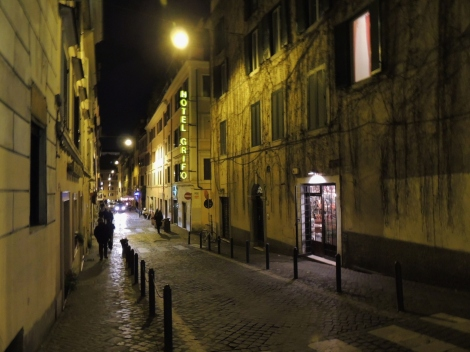 Monti District, Rome, at night