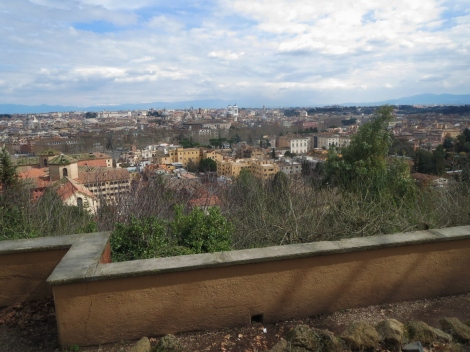 View of Rome city streets from Gianicolo Hill