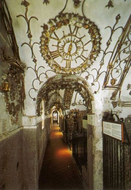 Entering the bone-filled Capuchin Crypt in Rome