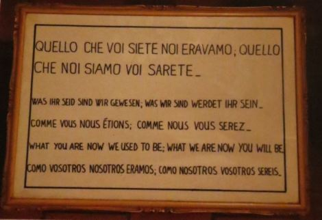 Morbid signage at the church of Santa Maria della Conzecione dei Cappuccini