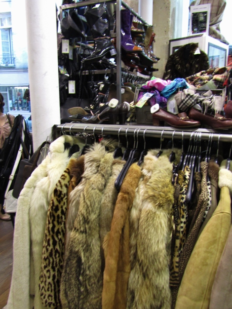 Fur coats and leather boots at the vintage Hippy Market