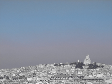 Monochromatic view of Paris skyline with Sacre Coeur