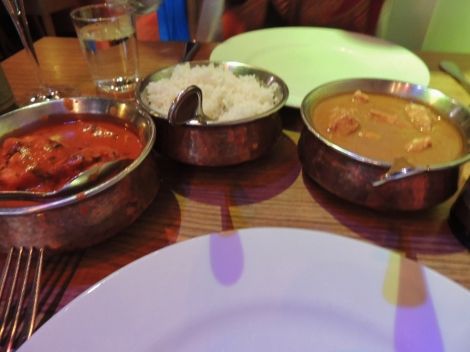 Choice of curries in metal dishes at an Indian restaurant in Reykjavik