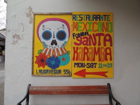 Santa Karamba Mexican restaurant advert with skulls