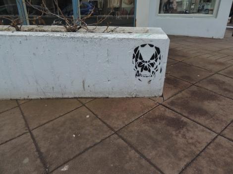 Banksy-style stencilled skull on Laugavegur, Reykjavik