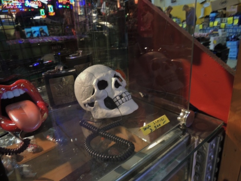 Comedy skull telephone at a second-hand market