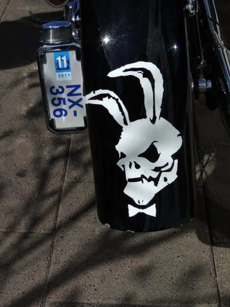 White rabbit skull motif on a black motorbike