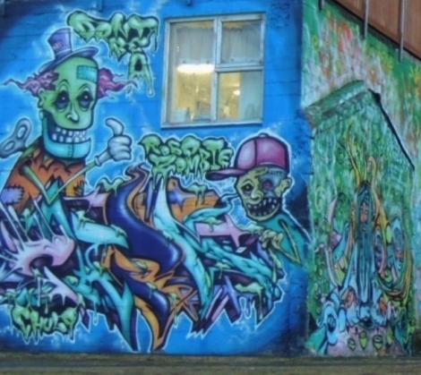 Zombie graffiti in Heart Garden, Reykjavik