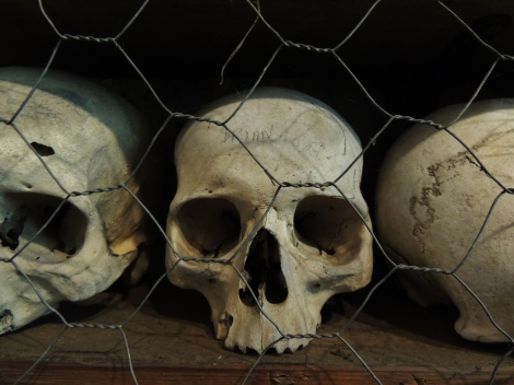 Adult skulls behind chicken wire at St. Leonard's crypt