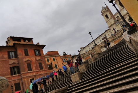 Spanish Steps, full of tourists, on a cloudy day