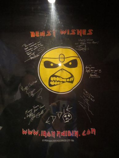 Signed Christmas t-shirt from Iron Maiden