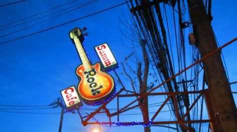 Illuminated sign for rock cafe in Thailand