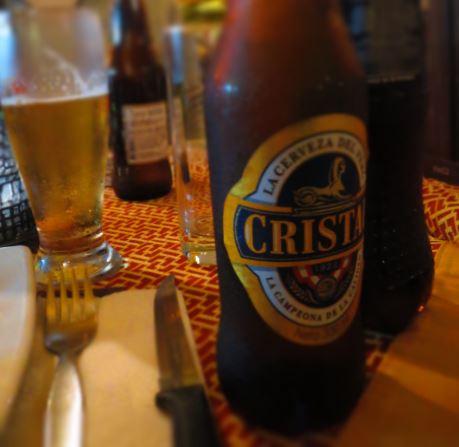 Peru Cristal bottle on restaurant table