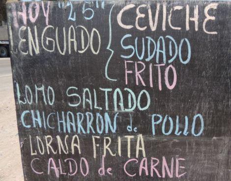 Peru Food Menu featuring Caldo de Carne y Ceviche