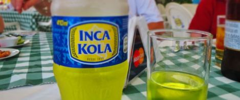 Bottle of bright yellow Inca Kola