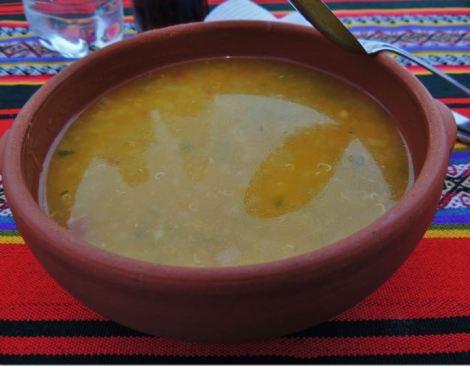 Peru Quinoa Soup on typical bright textile